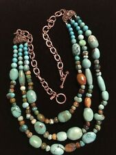 Sterling , 3 strand turquoise necklace - GORGEOUS TURQUOISE -Retired!