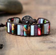Multi-Coloured Gemstone Oblong Wrap | Cuff Bracelet Amethyst | Jade | Black
