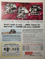 Lot of 3 Vintage Shakespeare Zebco Pflueger Fishing Rod Print Ads