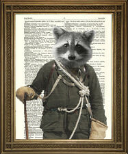 "ROCKY RACCOON: Fun Animal Mountain Climber Dictionary Art Print (10x8"")"