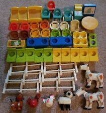VINTAGE FISHER PRICE LITTLE PEOPLE FURNITURE BABY SCHOOL ANIMALS LOT 50 PIECES