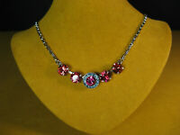 MARIANA NECKLACE SWAROVSKI CRYSTALS PINK BLUE SILVER P MOSAIC Gift Mother's Day