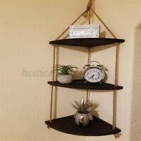 3 Tier Wooden Floating Shelf Fan-shaped Hanging Rope Rack Home Display Decor