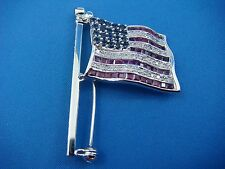American Flag Moving Brooch, 6.9 Grams 14K Gold, Diamonds, Rubies & Sapphires