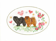 Chow Chow Birthday Card or Notecard Embroidered by Dogmania