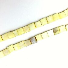 "16"" Dyed Light Yellow Shell 8mm Square Beads"