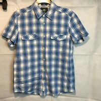MENS GENTS BLUE WHITE CHECK H&M L.O.G.G. FITTED SHIRT SIZE M