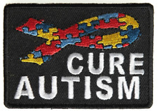 CURE AUTISM WITH RIBBON PATCH PUZZLE PIECE AWARENESS