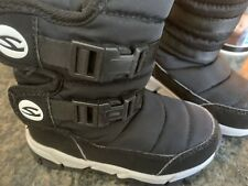 Black Water Resistant Round Front Unisex Girls Toddlers Kids Snow Boots Size 9.5