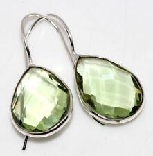 """Earrings 1.2"""" Ethnic Jewelry Gw Peridot 925 Silver Plated Gemstone Handmade"""