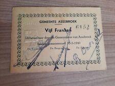 Noodgeld Vijf Franken 1940 Gemeente Assebroek (Vijf kleine letters)