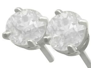 Antique and Contemporary 1.03ct Diamond and Platinum Stud Earrings