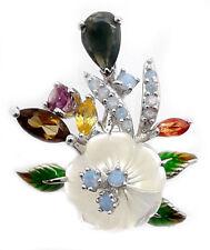 925er Silber Anhänger, Weißgold beschichtet, Opal Turmalin Perlmutter Emailliert