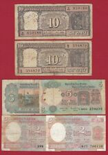INDIA 10 5 2 RUPEES LOT OF 6 NOTES