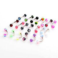20X Stainless Steel Ball Barbell Curved Eyebrow Rings Bars Tragus Piercing K5X6