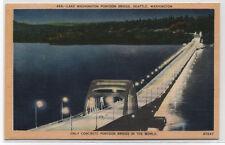 LAKE WASHINGTON PONTOON BRIDGE~SEATTLE,WA~LINEN POSTCARD