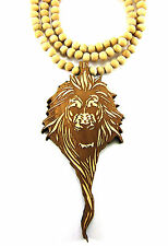 "Wooden Zion Lion Pendant Piece 36"" Chain Necklace All Good Wood Style Big Sean"