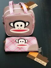 Authentic Paul Frank Pink Plaid Julius Bowler Square Satchel Bag + Zipper Wallet