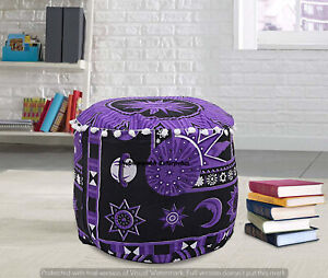 22'' Indian Mandala Ottoman Cushion Handmade Pouf Cover Footstool Seating Cover