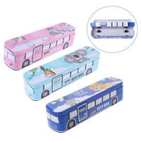 New Double Layer Cute Cartoon Bus Shape Iron Pencil Case School Student Kids Box