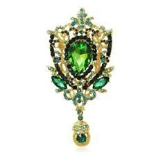 Fashion Jewelry Crown Flower Drop Green Crystal Rhinestone Brooch Pin Pendant