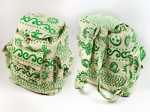 Drawsting BackPack - Green Printed Canvas  - 100% COTTON - Handmade in Nepal