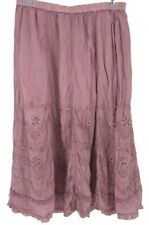 Soft Surroundings Suzette Skirt Pink Embroidered Ruffle Cotton Petites PL New
