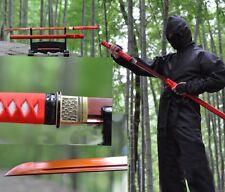 Red Folded Steel Japan Ninja Sect Shrine Samurai Sword Katana Razor Sharp Blade