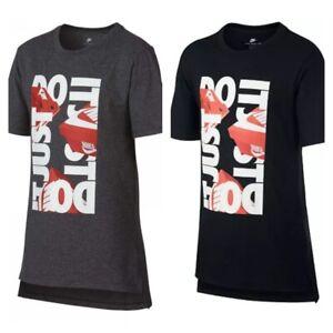 New Nike Boys Shoebox Graphic Print Cotton TShirt Black OR Gray Size 4/L/XL