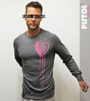 Pistol Boutique mens Dark Grey DRIBBLE SKETCH HEART casual Raglan sweatshirt