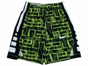 Nike Boys Dri-Fit Elite Printed Basketball Shorts Volt Yellow/Black 892666 New