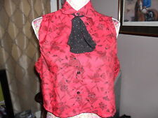 VINTAGE RED FLORAL BLOUSE WITH PUSSY BOW SIZE 14 GREAT CONDITION