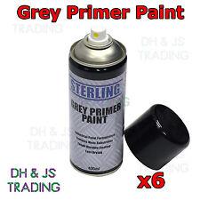 6 x Grey Primer Spray Gloss White Paint Can Aerosol 400ml Car Auto