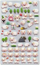 CUTE SHEEP STICKERS Sheet Lamb Farm Animal Puffy Vinyl Craft Scrapbook Kawaii