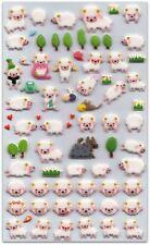 CUTE SHEEP STICKERS Sheet Lamb Farm Animal Puffy Vinyl Craft Scrapbook Kawaii