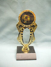 Soccer trophy black and gold jeweled with black wood base