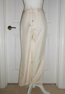 Ralph Lauren Collection Pants 2 Off White Ivory Boot Cut Silk Shantung Tie Front