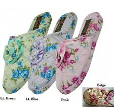 Womens Satin Floral House Slippers Lt Green Lt Blue Pink Beige S M L XL