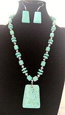 Fashion Square Shape Turquoise Pendant Silver Glass Bead Necklace Set
