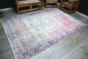 Antique Turkish Rug, 9 ft Pink Overdyed Rug, Faded Vintage Rug, Boho Rug, 912