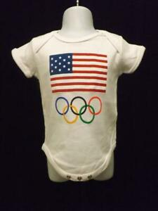 New USA Olympic Rings Outer Stuff Infant 6-9 Months White Creeper