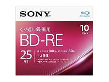 10 pack Sony BD-RE 25GB 3D blu-ray 2x Rewritable Discs Repacked Import Japan