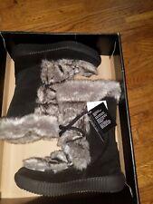OSCAR SPORT EKRU APRES Ski  Black Fur Tall Winter Boots Italy Size 9-10  $395