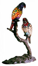 """Colorful Parrots Tiffany-Style Accent Table Lamp ~ Tropical Birds On Branch, 21"""""""