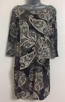 Ex Ladies Size S/M/L/XL Multi Paisley Print Border Hem Tunic Shift Body Dress