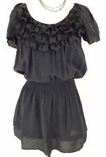 Vertigo Paris~Women's Size S~Black Short Ruffle Viscose Party Summer Dress.