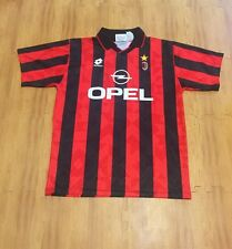 Vintage 1995 AC Milan Italian Serie A Adult Large Black Red Lotto Soccer Jersey