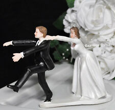 WEDDING CAKE TOPPER FIGURINE BRIDE AND GROOM HUMOR FUNNY UNIQUE CHASSING GROOM