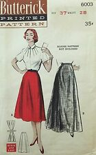 Vtg 1950s Butterick 6003 Sewing Pattern Misses Skirt Bell Gored Hip 37 W 28