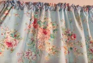 "Powder Blue, Shabby Chic Roses Window Valance, Curtain Cotton 43""W x 15""L"